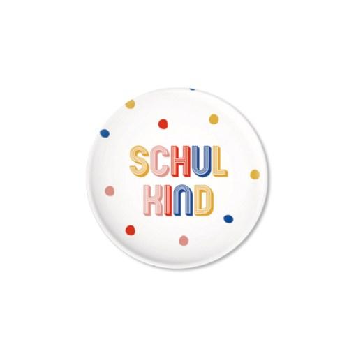 Button mit bunten Punkten, Schulkind, matte Optik, D 32mm