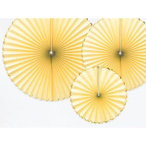 Dekofaecher ''Yummy'', hellgelb, Goldrand, 3er Set, D. 40, 32, 23 cm, Detail
