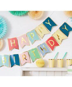 Girlande Happy Birthday, Pappe, gold, bunt, 15 x 175 cm, Dekobeispiel