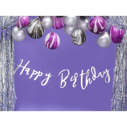 Girlande ''Happy Birthday'', Pappe, silber, 16,5 x 62 cm, Dekobeispiel 2