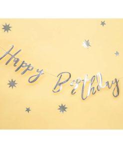Girlande ''Happy Birthday'', Pappe, silber, 16,5 x 62 cm, Dekobeispiel