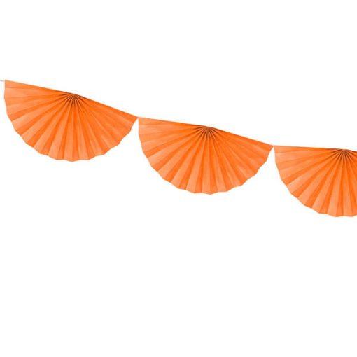 Girlande ''Rosettes'', Halbrosettengirlande, orange, ca. 15 cm x 3m, Detail