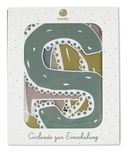Girlande Schulkind in pastell, Verpackung Naturkarton, 12 Elemente, 3m