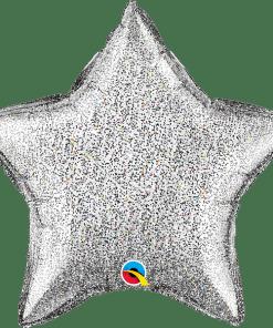 Glittergrafik Silber, Stern, Folienballon, 45 cm