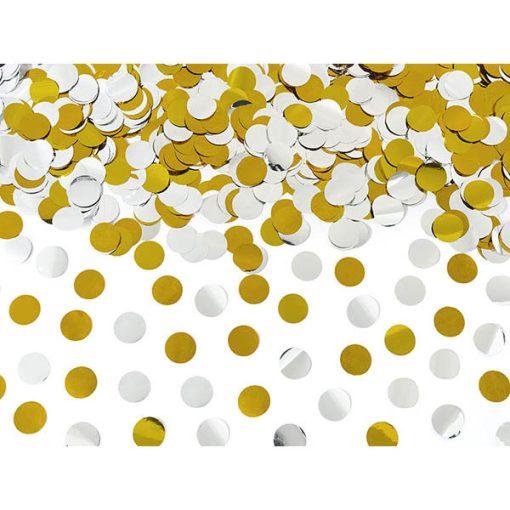 Konfettishooter, Folienkonfetti, Kreise, silber, gold, Reichweite ca. 5-8 m, L 40 cm, Konfettidetail