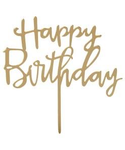 Kuchentopper ''Rose Happy Birthday'', Schriftzug-Stecker, Kunsstoff gold, 13x14 cm