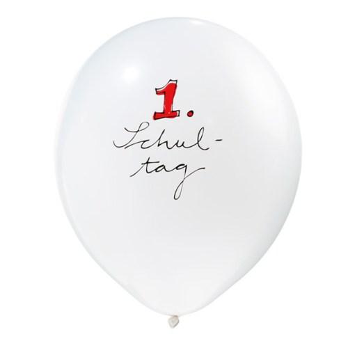 Latexballon, weiss mit Druck-rot-schwarz, D 28cm, 1ter Schultag