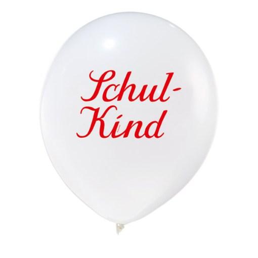 Latexballon, weiss mit Druck-rot-schwarz, D 28cm, Schulkind
