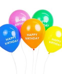 Latexballons HAPPY BIRTHDAY, 5 Regenbogenfarben sort., Druck weiss, D 30 cm, 5er Pack