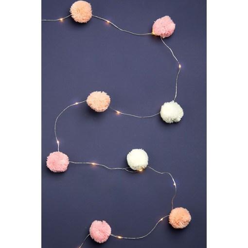 Lichterkette m. Pompoms, rosa, pink, weiss, 20 LED Lämpchen, L 2 m, leuchtend auf dunkel