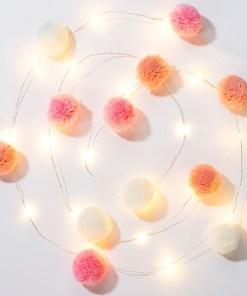 Lichterkette m. Pompoms, rosa, pink, weiss, 20 LED Lämpchen, L 2 m, leuchtend