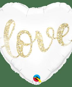 Love Glitter Gold, Herzballon ''Love'', weiss, glitter-gold, 45cm