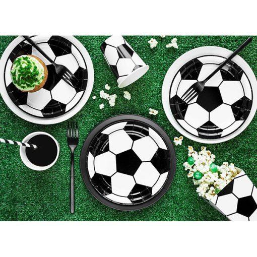 Pappteller ''Fussball'', Pappe foliert und bedruckt, D18cm, 25 Stueck, Dekobeispiel 1