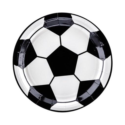 Pappteller ''Fussball'', Pappe foliert und bedruckt, D18cm, 20 Stueck