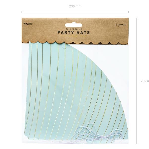 Partyhuete zum Zusammenstecken, Pappe h'blau, Schraegstreifen gold, 6er Pack, D 9,5 H 21 cm, Packung