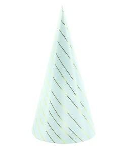 Partyhuete zum Zusammenstecken, Pappe h'blau, Schraegstreifen gold, 6er Pack, D 9,5 H 21 cm