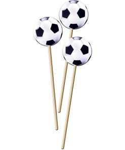 Picker ''Fußball'', Holzstab mit Papp-Fussball, 8 Stueck, 20 cm