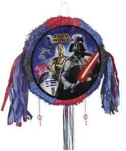 Pull-Pinata Star Wars, rund, Foto Darth VaderPapierquasten, blau-rot-schwarz, 48 x 45 cm