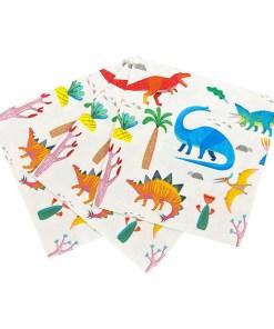 Serviette, ''Dinosaurier Serviette'', verschiedene Tierarten, 33x33, gefaechert