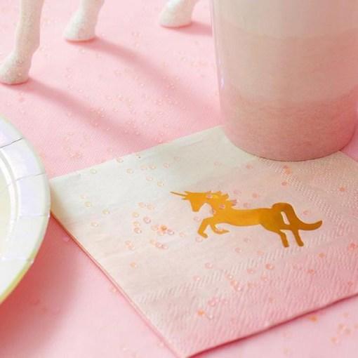Servietten, pink zu hellblau werdend, Einhorndruck, gold, 25 x 25 cm, 16 Stk, Papier, Dekobeispiel