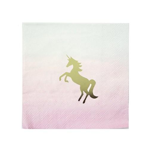 Servietten, pink zu hellblau werdend, Einhorndruck, gold, 25 x 25 cm, 16 Stk, Papier