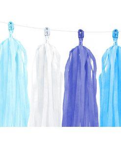 Tasselgirlande, 12 Seidenpapier-Quasten blau, h'blau, türkis, weiß, H 30 cm L 150 cm, Detail