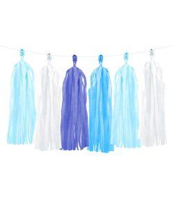 Tasselgirlande, 12 Seidenpapier-Quasten blau, h'blau, türkis, weiß, H 30 cm L 150 cm