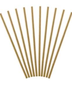 Trinkhalm, Kraftpapier naturbraun, 10er Pack, L 19,5cm, gefaechert