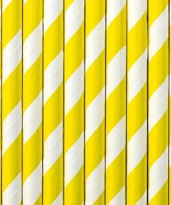Trinkhalme, Papier, Spirale weiss, gelb, 10er Pack, L 19,5 cm