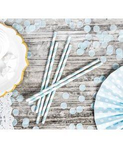 Trinkhalme, Papier, Spirale weiss, hellblau, 10er Pack, L 19,5 cm, Dekobeispiel 2