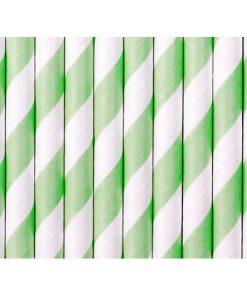 Trinkhalme, Papier, Spirale weiss, mint, 10er Pack, L 19,5 cm