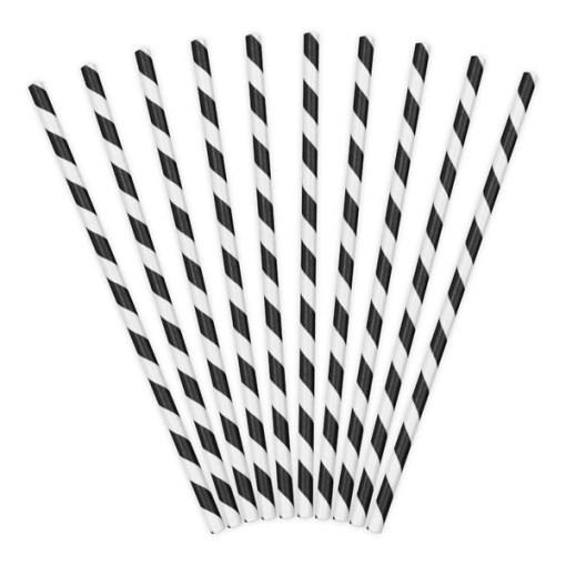 Trinkhalme, Papier, Spirale weiss, schwarz, 10er Pack, L 19,5 cm, gefaechert