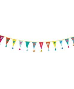Wimpelkette HAPPY BIRTHDAY, Stoff uni-bunt, Stick bunt, Wolltroddeln, 29 x 300 cm, lang