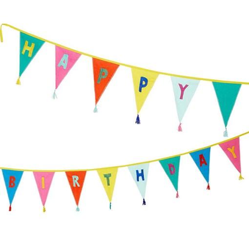Wimpelkette HAPPY BIRTHDAY, Stoff uni-bunt, Stick bunt, Wolltroddeln, 29 x 300 cm