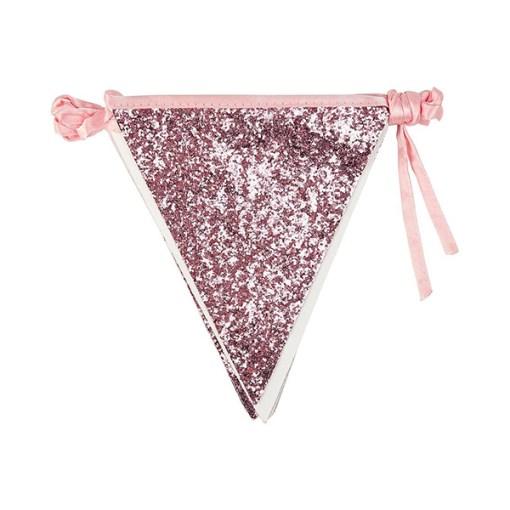 Wimpelkette glitter-rosa, Stoff, Satinband, 16x18cm, L 3 m, zusammengelegt