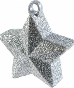BALLONI, Ballongewicht Stern, Plastik Glimmer silber, 170g, D 9 cm