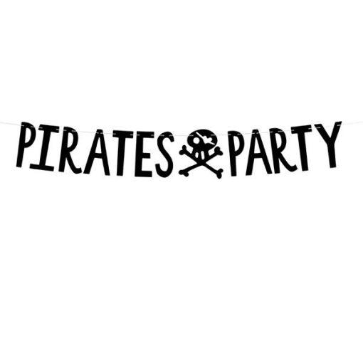 Buchstabengirlande ''PIRATES PARTY'' und Totenkopf, schwarz, 14 x 100 cm