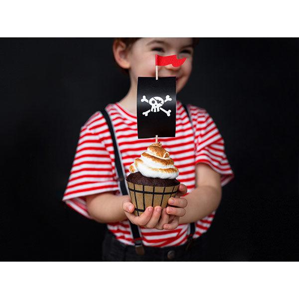 Cupcake-Kit ''PIRATES PARTY'', Muffinformen, Segel, Fahnenstecker, 6er Pack, Toppers circa 20cm h, Beispielbild