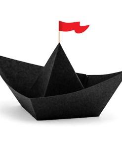 Faltschiffe ''Pirate's Party'', schwarze Faltblaetter und rote Wimpel, 6er Pack, 19 x 14 cm
