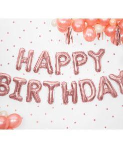 Folienballon-Schriftzug ''HAPPY BIRTHDAY'', rosegold, 340 x 35 cm, Dekobeispiel