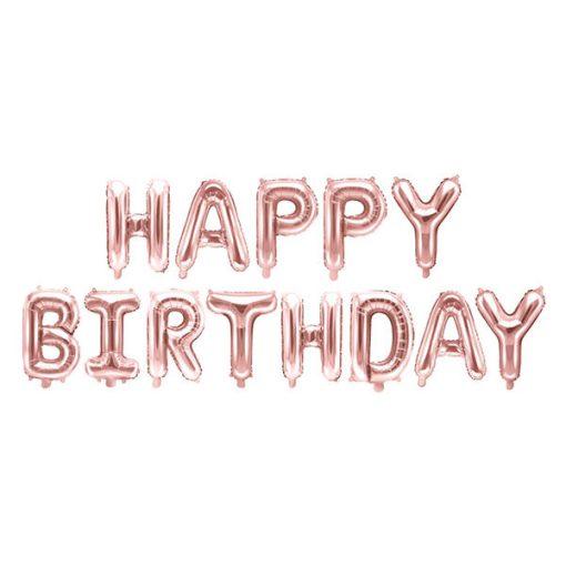 Folienballon-Schriftzug ''HAPPY BIRTHDAY'', rosegold, 340 x 35 cm