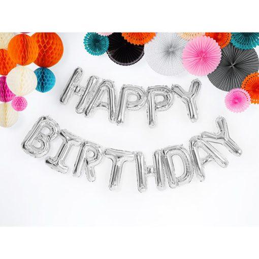Folienballon-Schriftzug ''HAPPY BIRTHDAY'', silber, 340 x 35 cm, Dekobeispiel