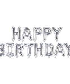 Folienballon-Schriftzug ''HAPPY BIRTHDAY'', silber, 340 x 35 cm