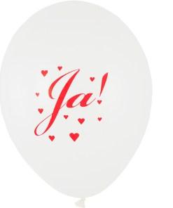 Weißer Latexballon 28cm mit rotem Aufdruck: Ja!