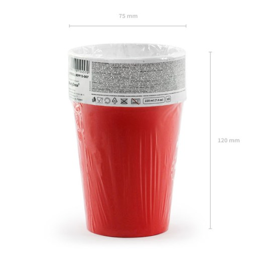 Pappbecher ''ARR!'' und Totenkopf, rot-weiss, 6er Pack, D 7,5 H 9 cm, 220 ml, Packung