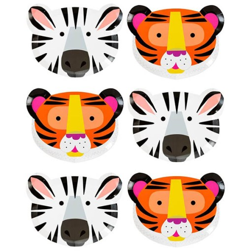 Pappteller, Tiergesichter als Motive, Loewe-Zebra, 12er Pack, 16cm x 22,3cm, Reihung