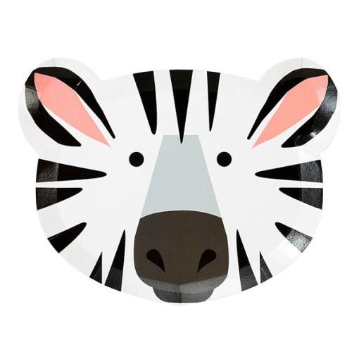 Pappteller, Tiergesichter als Motive, Loewe-Zebra, 12er Pack, 16cm x 22,3cm, Zebra