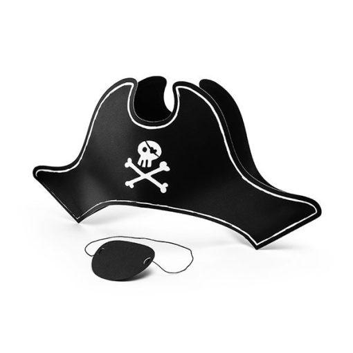 Partyhuete ''Pirate's Hat'', Piratenhut und Augenklappe, Pappe, 40,5 x 15 cm