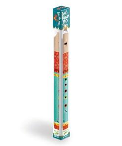 Animambo Floete, Holz, tuerkis-rot-bunt bemalt, L 30 cm, Verpackung gedreht