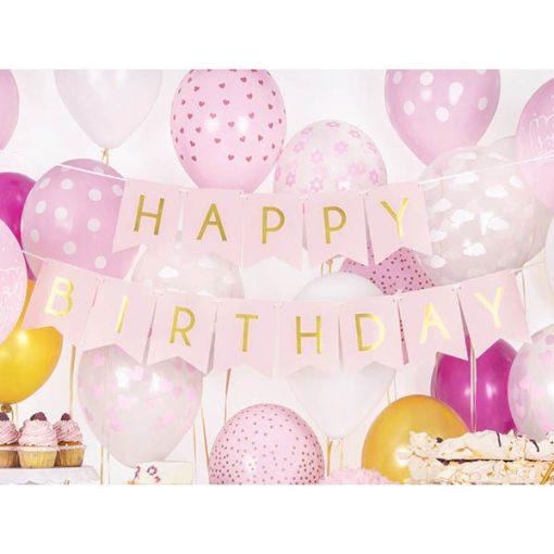 FahnenkettFahnenkette HAPPY BIRTHDAY, Pappe rosa, Schrift gold, 15 x 175 cm, Dekobeispiele HAPPY BIRTHDAY, Pappe rosa, Schrift gold, 15 x 175 cm, Dekobeispiel